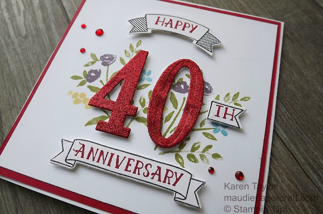 Stampin' Up! Number of Years 40th anniversary card
