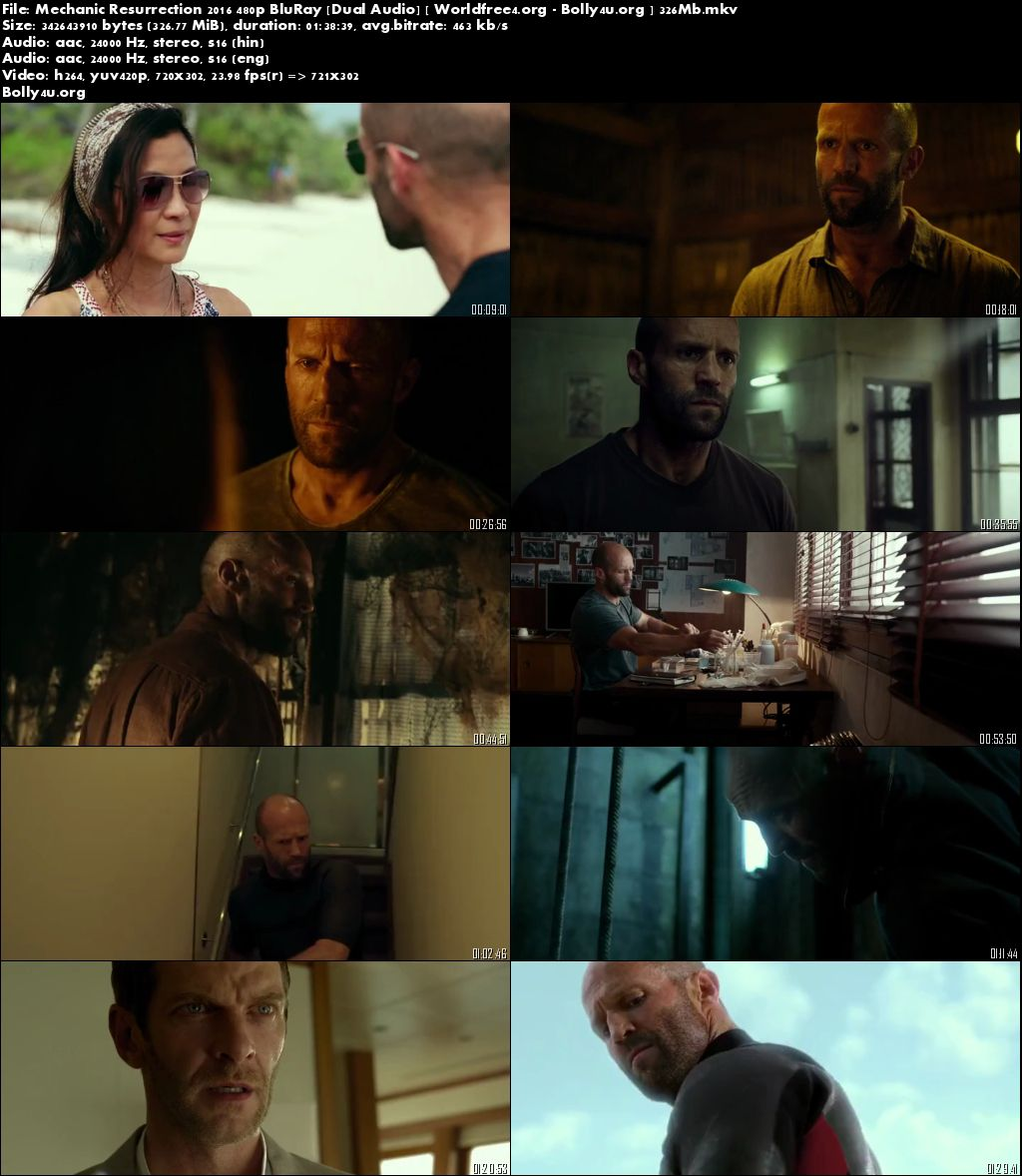 Mechanic Resurrection 2016 BRRip Dual Audio ORG 300Mb 480p Download