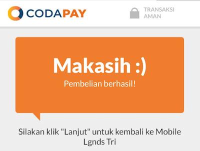 pembayaran coda shop berhasil