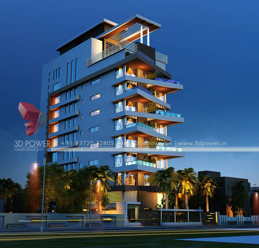High Rise Apartment Design Exterior apartment rendering services