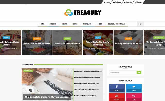 Free Blogger Premium Treasury Blog Template