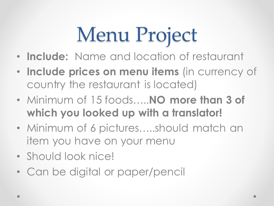 Mrs Neumiller\u0027s ITV Spanish 1  Menu project instructions for - restaurant menu project examples