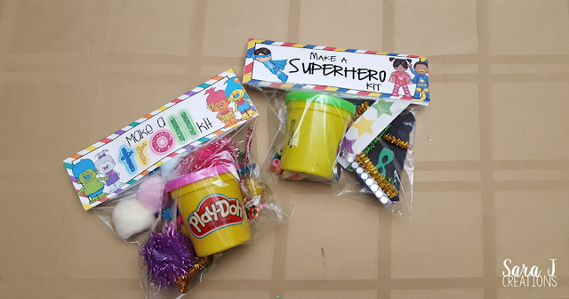 Make a Superhero kit includes a FREE printable bag topper for you. Add some playdough and decorations and you are ready to make some superheroes. Makes the perfect superhero themed birthday goody bag and fine motor practice. #superhero #birthdays #crafts #diy #finemotor #sarajcreations