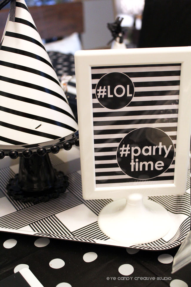 #partytime, #LOL, emoji party sign, hashtags, black & white decor