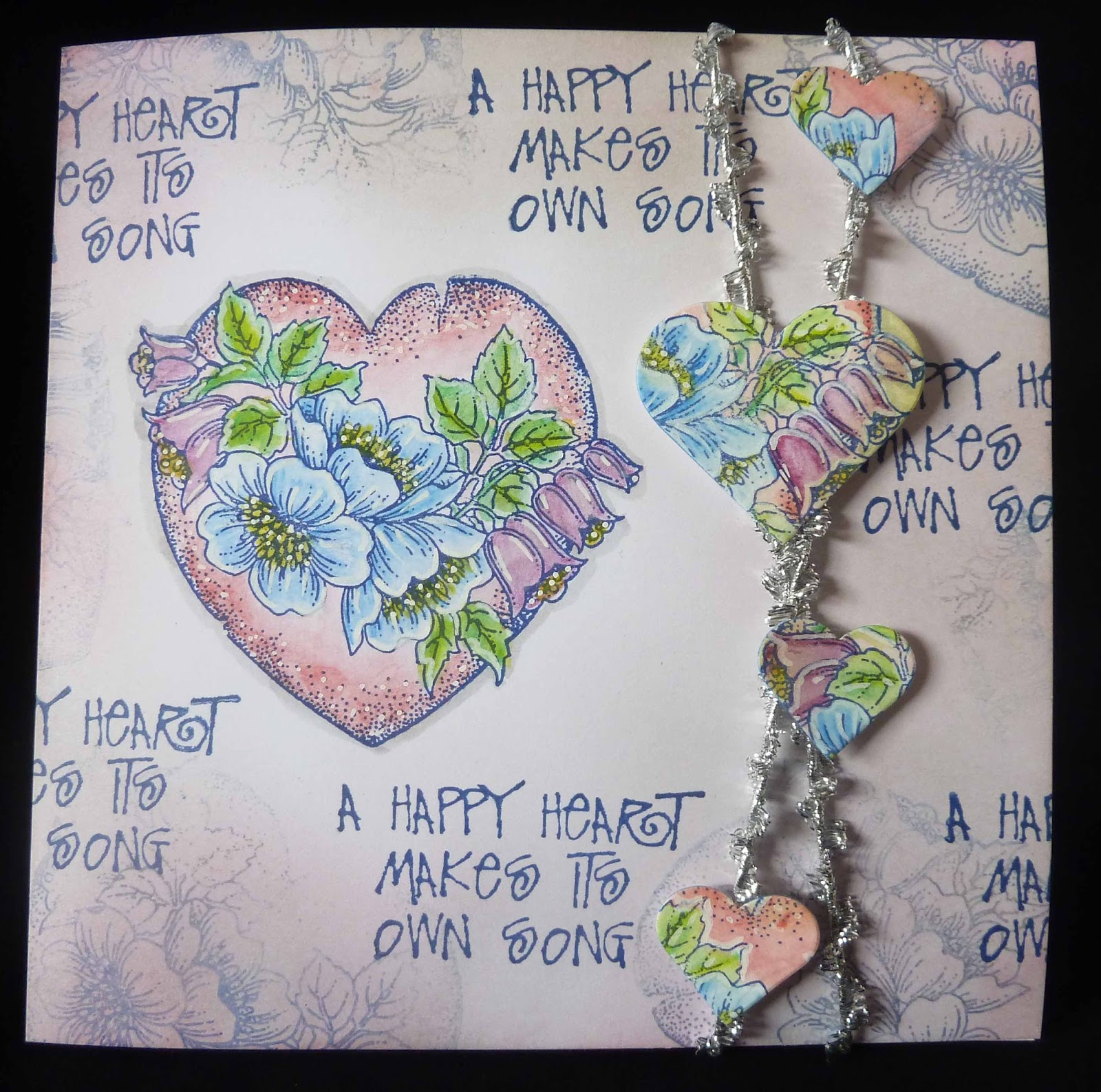The Main Heart Image Has Been Stamped With Blue Versafine And Coloured Inktense Pencils I Also A Second Onto Spare Card So