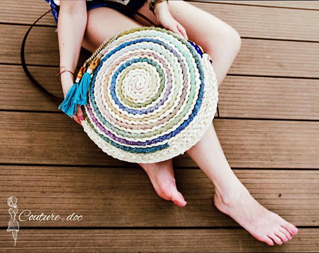 torba, koszyk, pleciona, okrągła, kolorowa