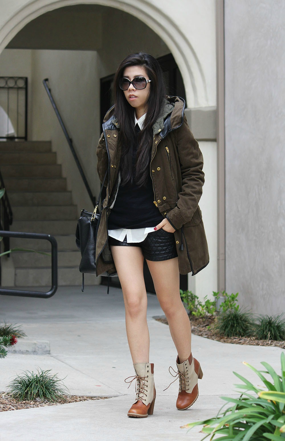 Black Sweater with White Collar Top and Black Leather Shorts_Classic Black and White Outfit