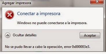 La impresora en red no puede instalarse (el error 0x000003e3)