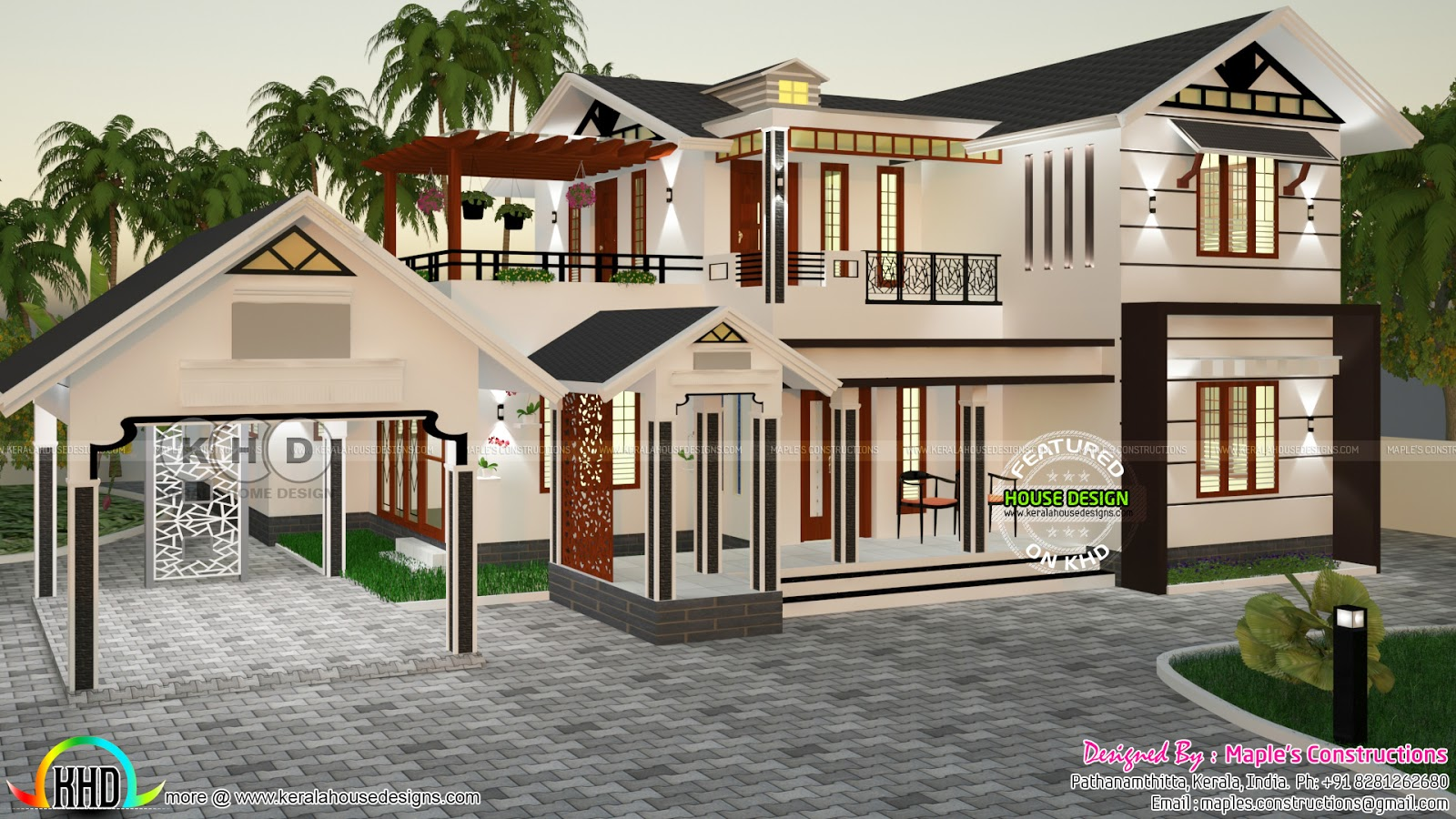 Modern sloping roof 2500 sq ft house kerala home design for Modern house plans under 2500 square feet