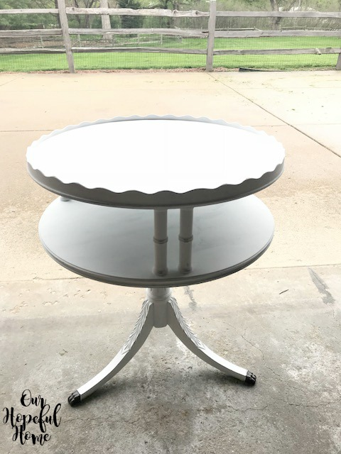 white two tiered table French farmhouse fluted edges three legs