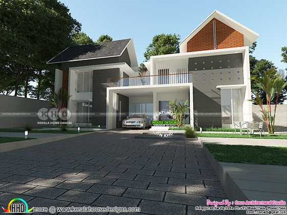 Fusion type 3000 sq-ft 4 bedroom home design