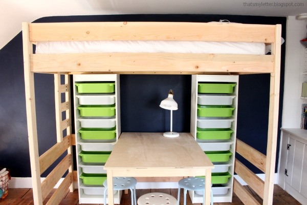 loft bed with storage and work table