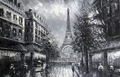 foto lukisan menara eiffel