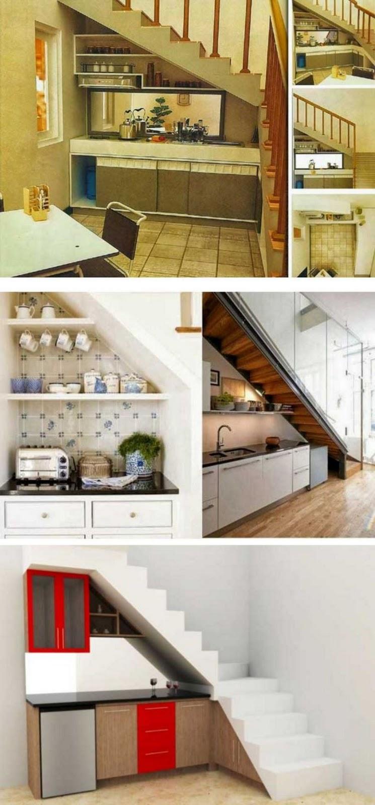 ide interior desain kumpulan dapur bawah tangga terbaru