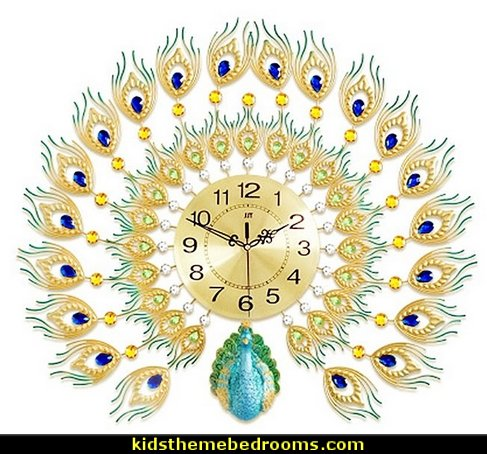 Peacock clock  peacock bedding - peacock home decor - peacock theme decor - Peacock Decorations - Peacock Nursery - peacock wall decoration - peacock colors - peacock color decor - peacock wallpaper - Peacock curtains - life size peacock decorations - Peacock feathers - Peacock living room - Peacock themed decorating - exotic style decorating