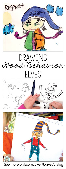 Turn your elf craft project into more than just an art lesson.  Let your elves motivate students to use good behavior leading up to Christmas (or anytime)!  Draw elves that show kindness, giving, respect, responsibility, and other virtues. Don't miss the link to the free drawing page at the end of this post.