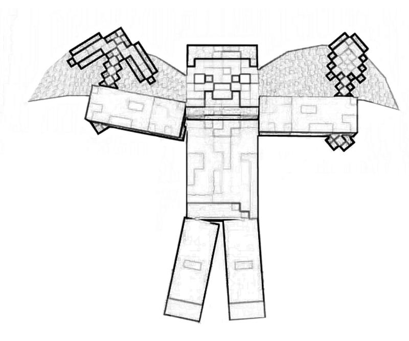 minecraft coloring pages herobrine vs steve | Minecraft Character | Yumiko Fujiwara