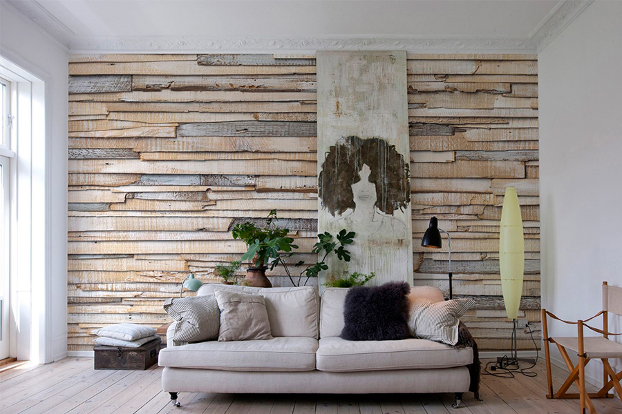 grey wood texture wallpaper for living room