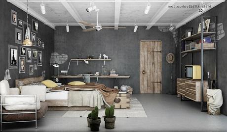 Habitaciones en estilo industrial dormitorios colores y for Paredes estilo industrial