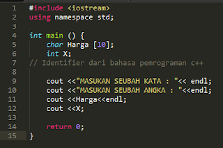 contoh program identifier pada bahasa c++
