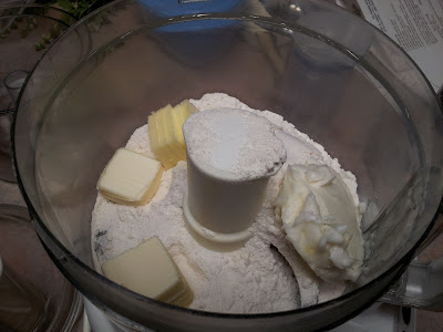 Cold butter and shortening cut into pie crust