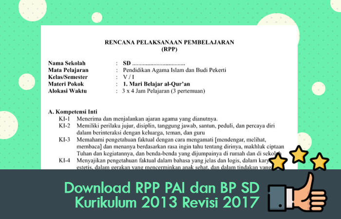 Download RPP PAI dan BP SD Kurikulum 2013 Revisi 2017