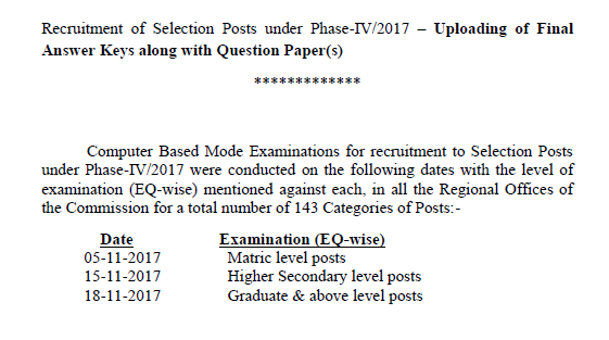 [Notice] Regarding Answerkey of Selection Posts under Phase-IV/2017 PDF SSC Officer