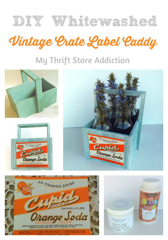 DIY whitewashed vintage crate label caddy