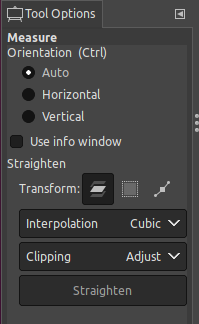 GIMP measure tool straightening horizontal vertical