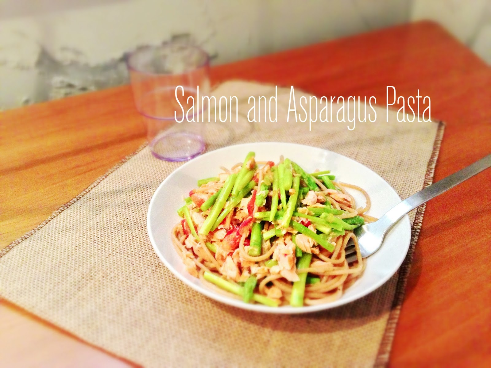 Garlicy Salmon and Asparagus Pasta