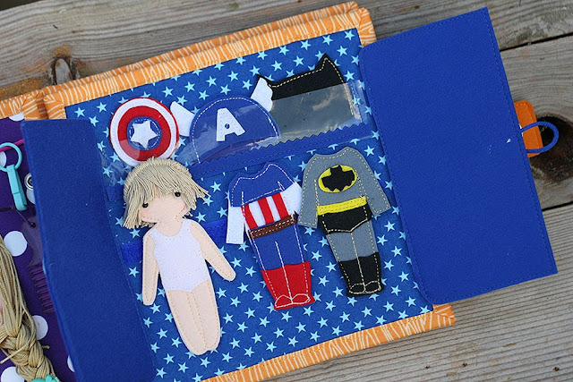 Quiet book, fabric busy book, Handmade by TomToy, Superhero dressing page