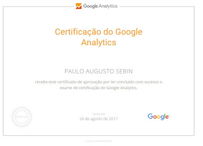 Imagem do certificado do Analytics - Paulo Augusto Sebin