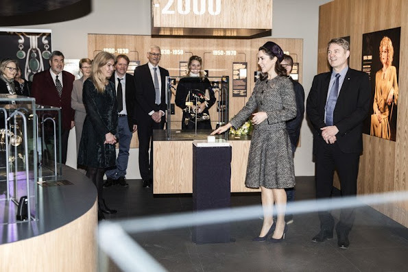 "Crown Princess Mary opened the exhibition ""The Jewellery Box"" at the Old Town Museum in Aarhus wore Prada suit skirt"