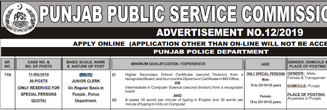 Punjab Police Jobs 2019 By PPSC | Punjab Police Vacancies (BS-11)