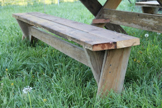 Picnic table bench end view