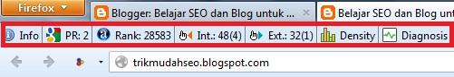 SEOBAR SEO QUAKE pada bagian atas browser Firefox