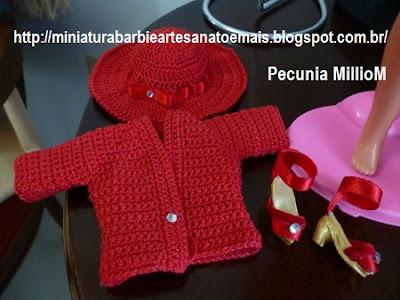 Vestido, casaco e sapatos de Crochê Para a Susi Antiga Criada Por Pecunia MillioM 2