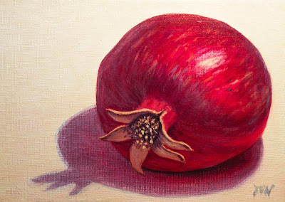 pomegranate painting km withers art ruby red fruit still life
