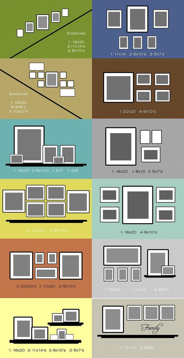 distribuição de quadros nas paredes