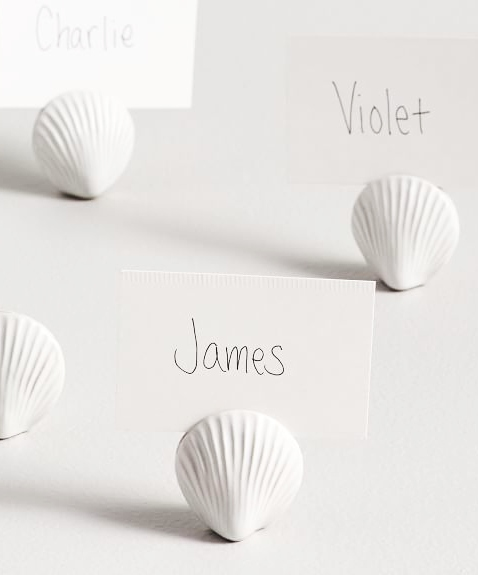 White Shell Place Card Holders