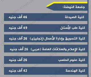 أسعار ومصروفات جامعة النهضة فى مصر 2016-2017 بعد الزيادة :