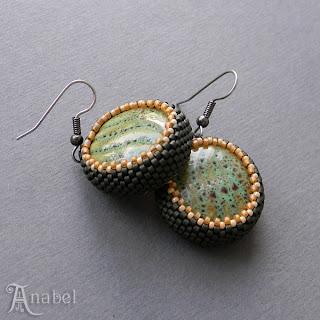 купить украшения сережки с керамическими бусинами этническую бижутерию