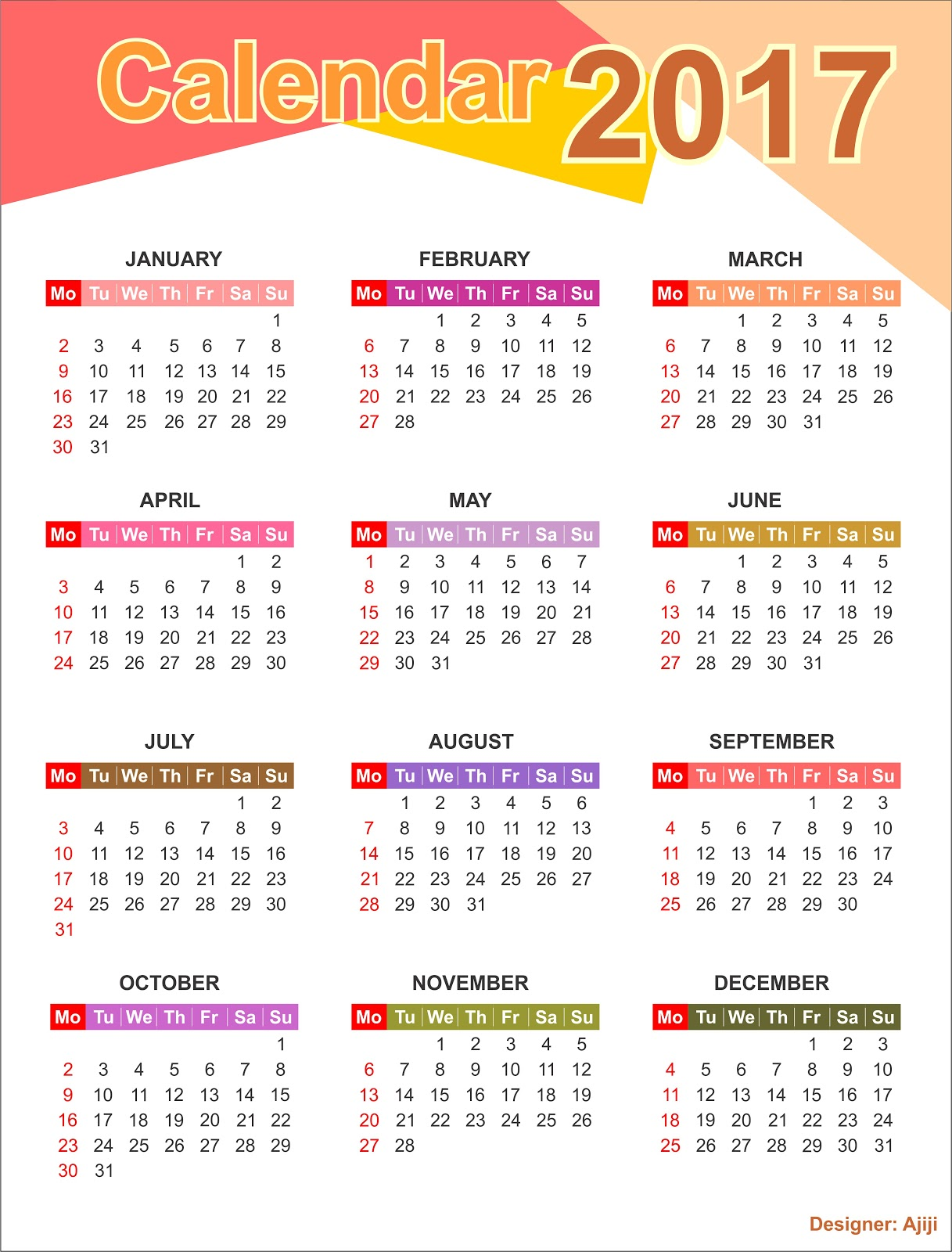 2017 Calendar - Download 17 free printable Excel …