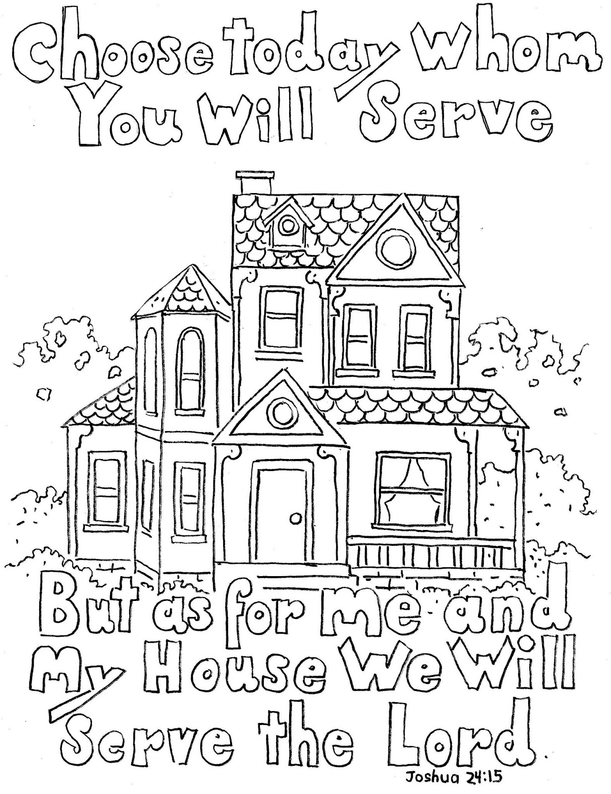 Free coloring pages houses and homes - Joshua 24 15 Print And Color Page But As For Me And My House We Will Serve The Lord