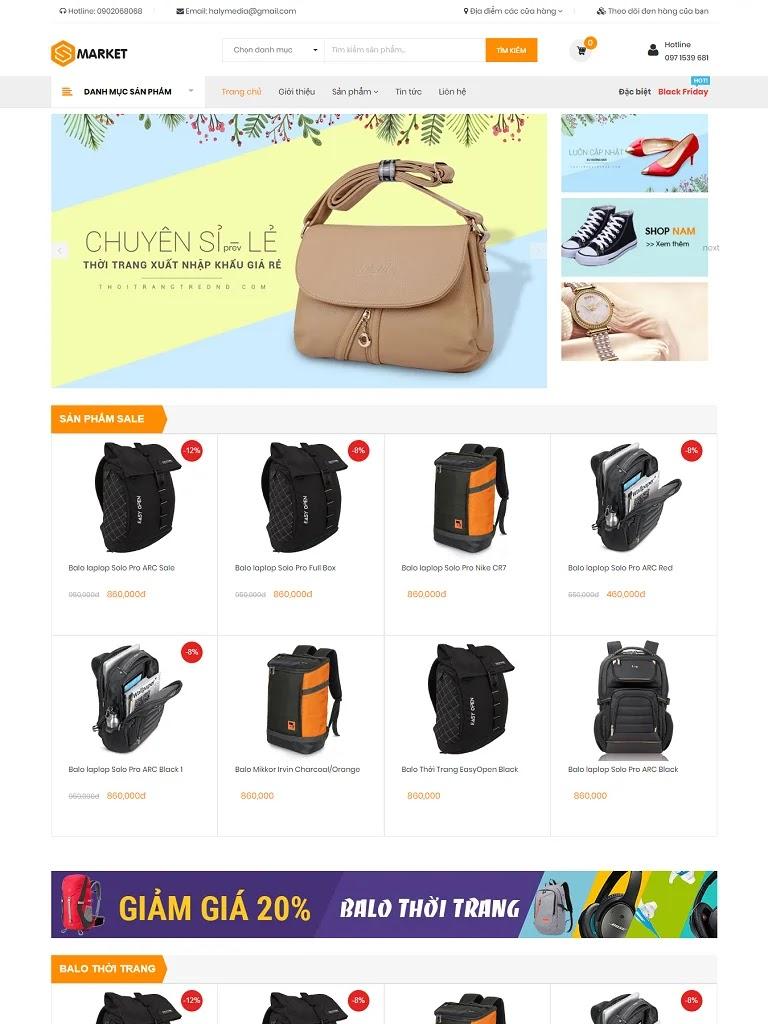 Template blogspot bán hàng balo xinh giá rẻ chuẩn đẹp