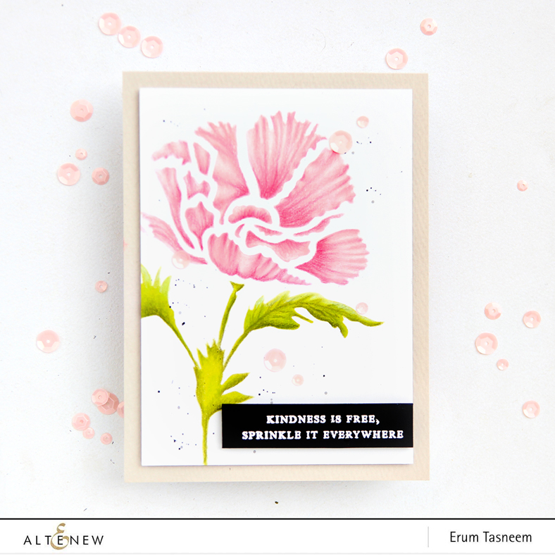 Altenew Poppy Bloom Stencil - inked with Altenew Crisp Inks | Erum Tasneem | @pr0digy0