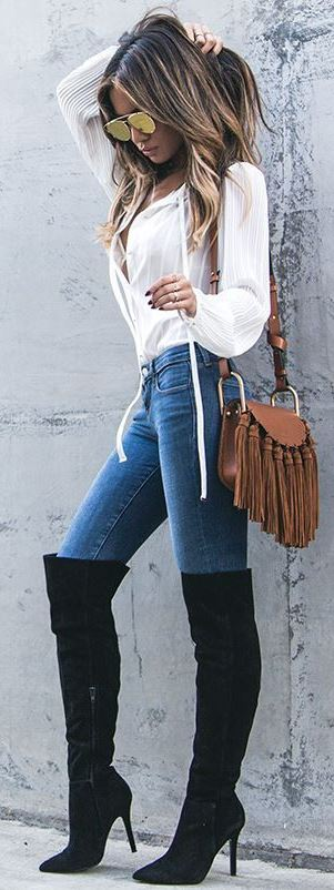 how to style over the knee boots : white blouse + brown bag + jeans
