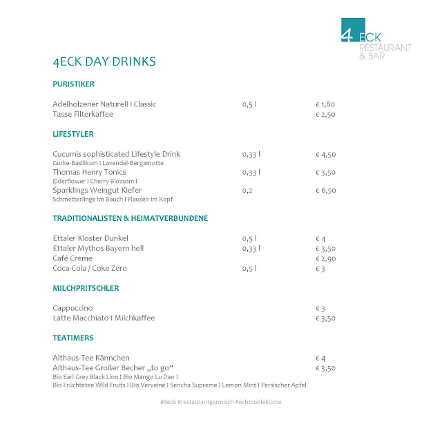 4Eck Restaurant Garmisch-Partenkirchen, Getränkekarte, Lifestyle Drinks, to go, einfach anders, Uschi Glas, Kerstin Schumann