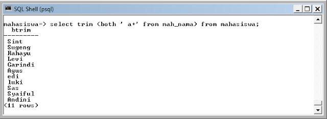 Kelas Informatika - Menghilangkan Karakter dengan Fungsi Trim pada PostgreSQL