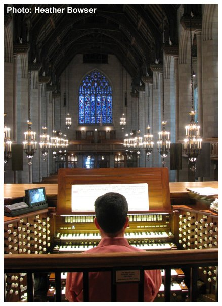 John W. W. Sherer - Organist and Director of Music for Fourth Presbyterian Church playing the 1971 Aeolian-Skinner Organ | vertical image | Photo by Heather Bowser